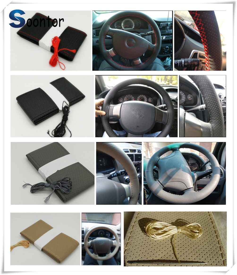 car accessories Soft fiber leather steer braided DIY steering <font><b>wheel</b></font> cover For Mercedes Benz W211 W203 W204 W210 <font><b>W124</b></font> AMG W202 image