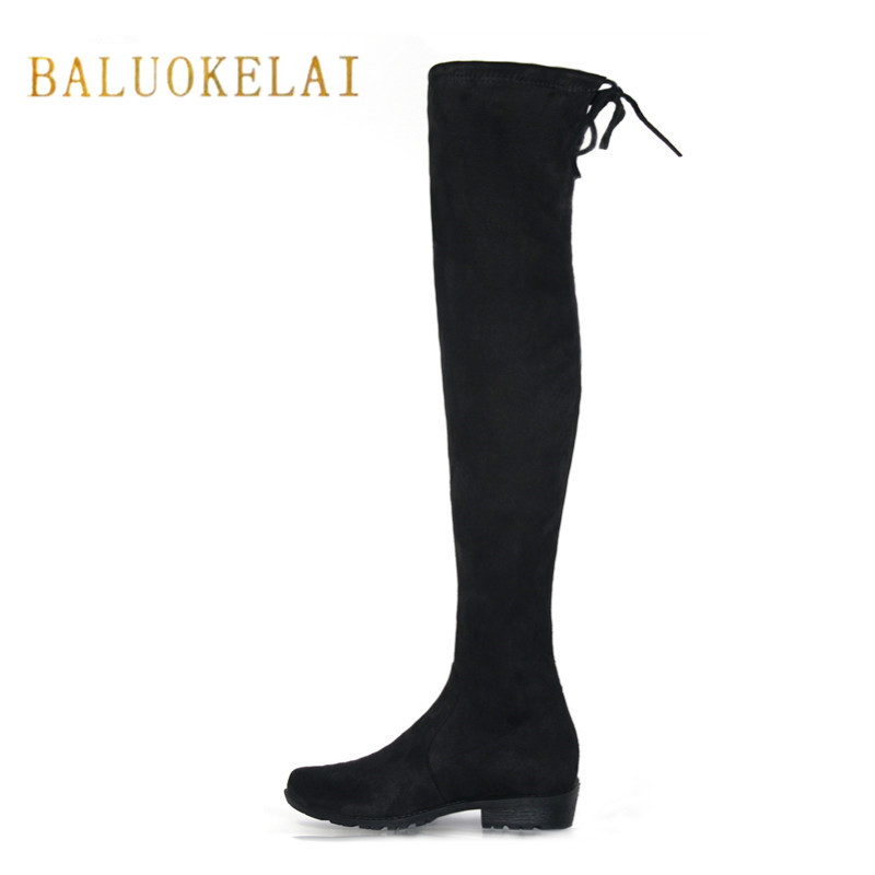 New Women Over Knee Boots With Fur Black Thigh High Boots Shoes Woman Round Toe Winter Stretch Slim Winter Boots Black FS-0104 women socks boots stretch slim winter over knee boots black thigh high boots elastic shoes woman round toe snow boots fs 0153