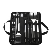 20Pcs Stainless Steel Outdoor Barbecue Accessories BBQ Grill Set Of Tools Kit with Canvas Storage Bag