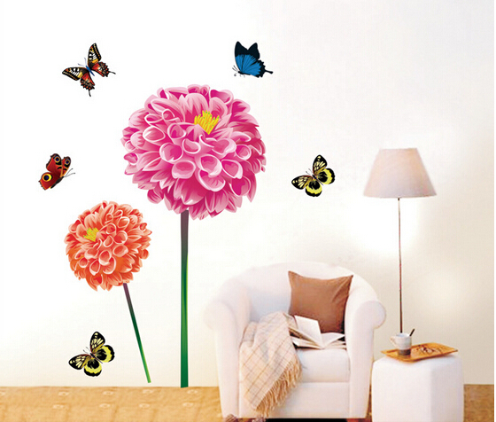 Big flower butterfly wall sticker bedroom decal art diy for Wallpaper decals