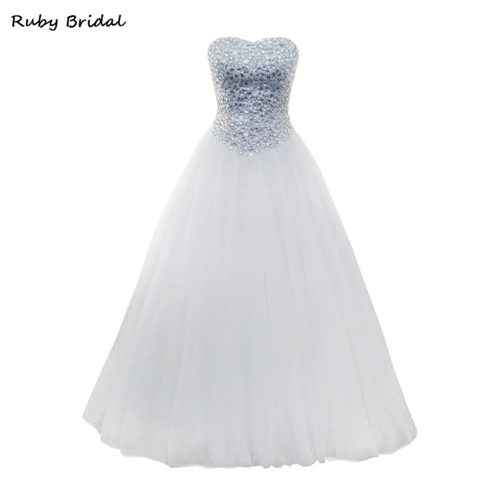 97ebd56ddbf Ruby Bridal Elegant Vestido De Noiva Long Ball Gown Wedding Dresses White  Tulle Beaded Top Charming