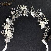 Cheap Design Gibsonbridal Exquisite Flower Leaf Crystal Pearls Wedding Hair Vine Headband Bridal Headpiece Party Hair