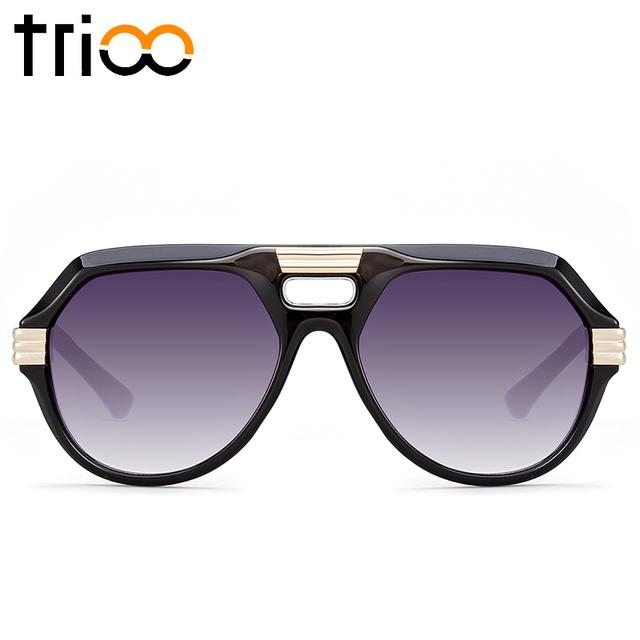 Trioo piloto óculos de sol para os homens de luxo preto brilhante quadro oculos shades oversized frio do sexo masculino óculos de sol 2017 new designer de moda
