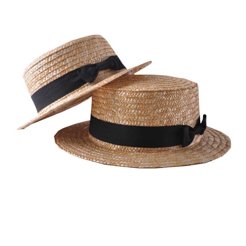 2019 đơn giản Mùa Hè Cha Mẹ-Con Đi BiểN Nón Nữ Casual Panama Nón Nữ Thương Hiệu Nữ Phẳng Vành Nơ Ống Hút nắp glris Hat