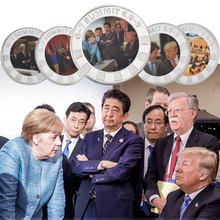 WR 8 pcs/lot 2018 G7 Summit Silver Coins Collectibles Donald Trump France Collection Copy Coins for Gifts Souvenirs Dropshipping(China)