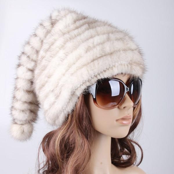 HA126-Fashion black brown white cap for women. autumn winter holiday luxury genuine mink fur Xmas hat