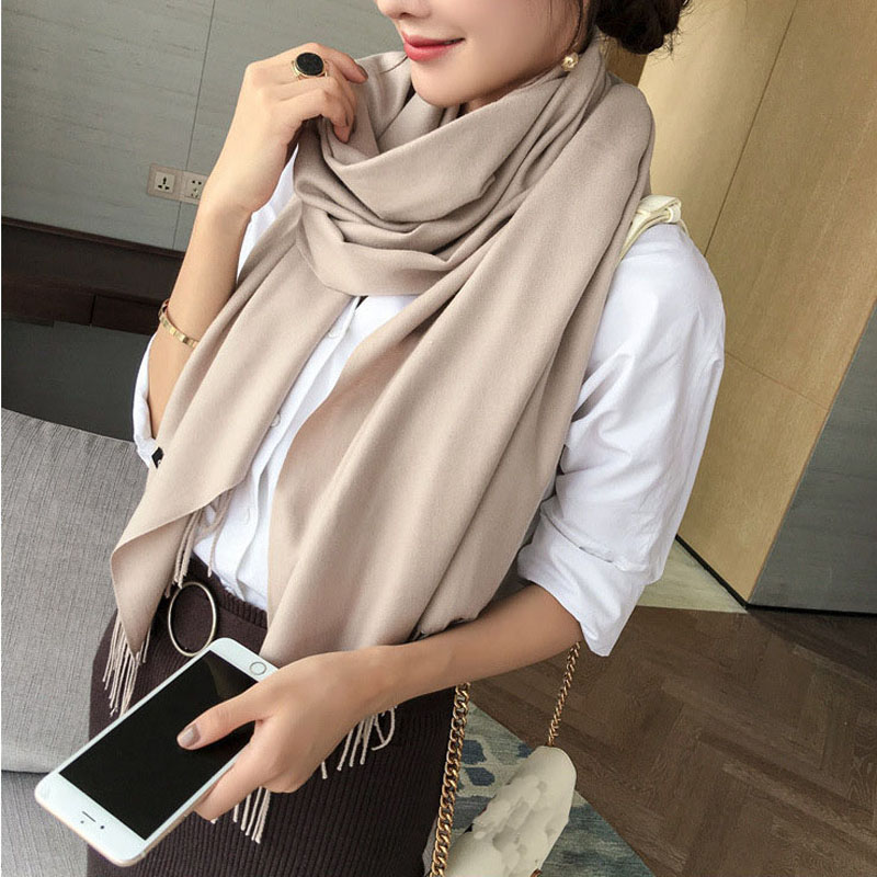 Women Winter Cashmere Scarf Ponchos And Capes Lic Female Blanket Pashmina Scarves Warm Tippet Shawl Tassel Stoles