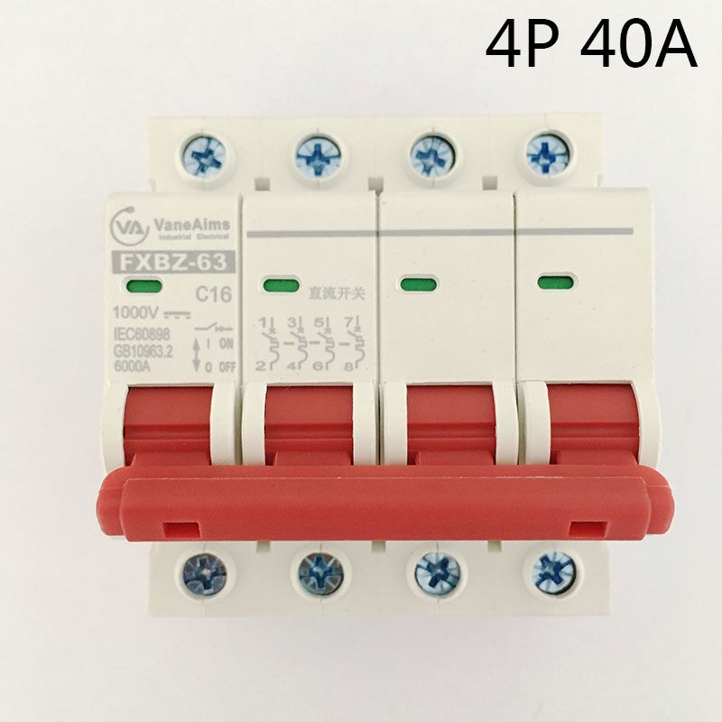 FXBZ-63 4P 40A DC 1000V Circuit breaker MCB 4 Poles C63 fxbz 63 4p 40a dc 1000v circuit breaker mcb 1 poles c63