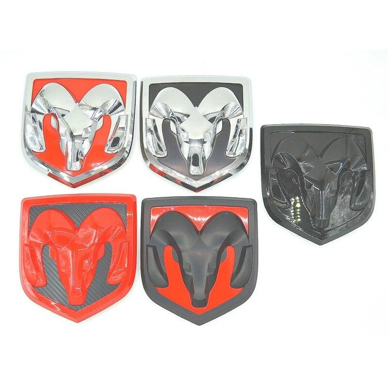 Nouveau 3D Voiture Tête Grill Hayon 3D Autocollants Métal Emblème Repose Métal Chrome Badge Autocollant Emblème tête Pour Dodge Ram calibre