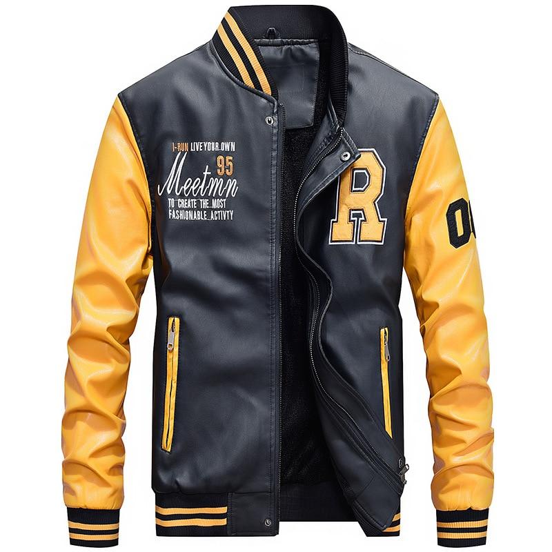 Fleece Pilot Leather Jacket Hombre Embroidery Baseball Jackets Men Letter Stand Collar Pu Leather Hip Hop Coats Plus Size 4XL