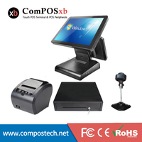 touch screen pos system computer with thermal 80mmprinter cash register /cash drawer/barcode scanner/customer display