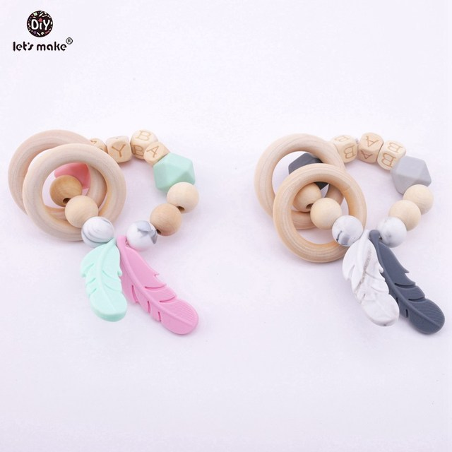 Let S Make 2pcs Baby Nursing Feather Bracelet Wooden Teether Beads
