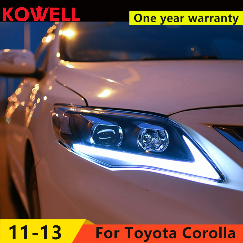 KOWELL Car Styling for Toyota Corolla Headlights 2011 2013 Altis LED Headlight DRL Bi Xenon Lens