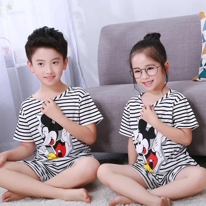 Boy Pyjamas Short-Sleeved Kids Summer Sleepwear-Set Cloth Girls Children's Cartoon Cute