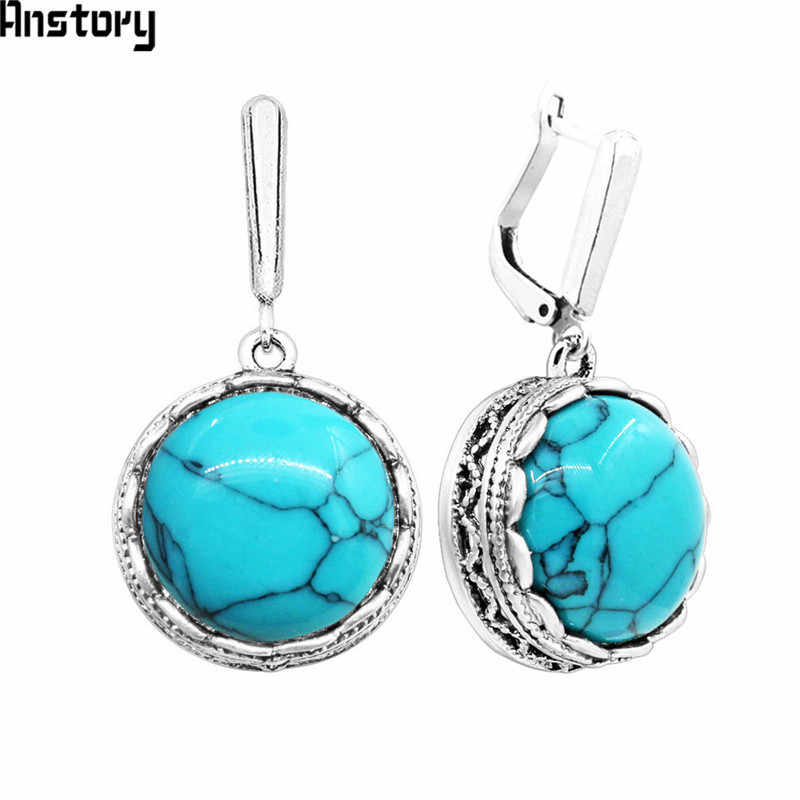 Flower Pendant Round Stone Earrings For Women Vintage Antique Silver Plated Fashion Jewelry TE392