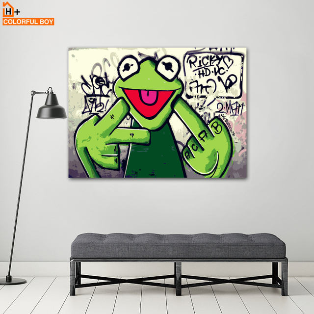 COLORFULBOY Rap Singer Frog Canvas Painting Wall Art Pop Art Posters ...