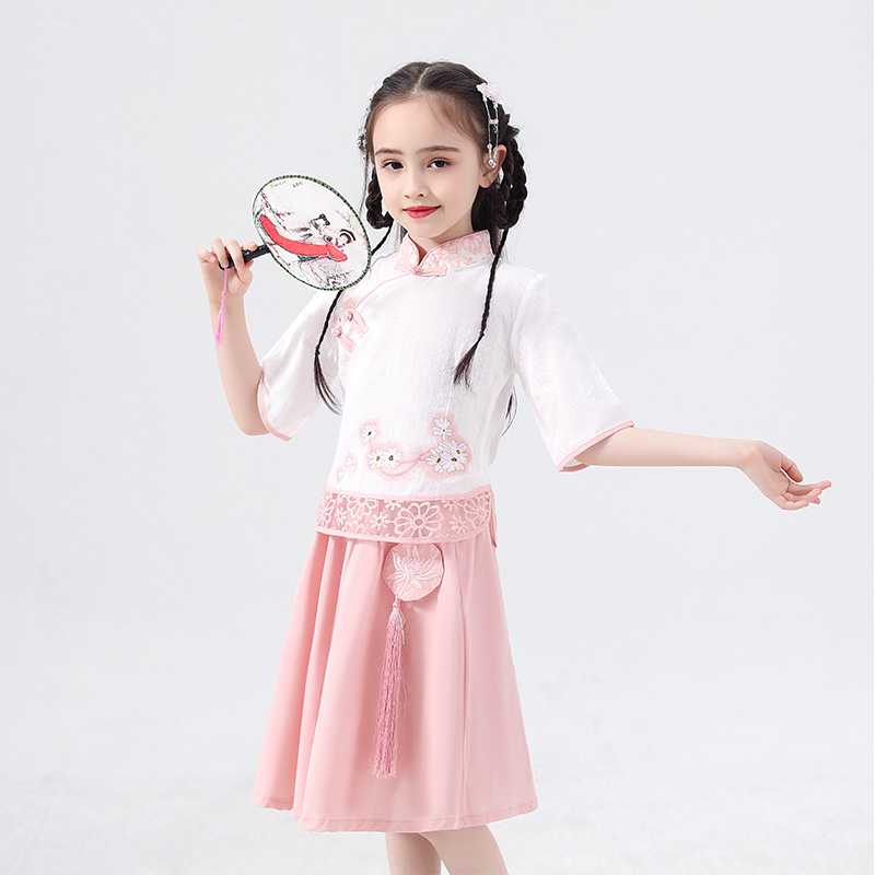 Hanfu Skirt Chinese Style Summer Girls Dress Chinese Ancient Traditional Pink/Green Hanfu Folk Dance Performance Clothes DQL1226