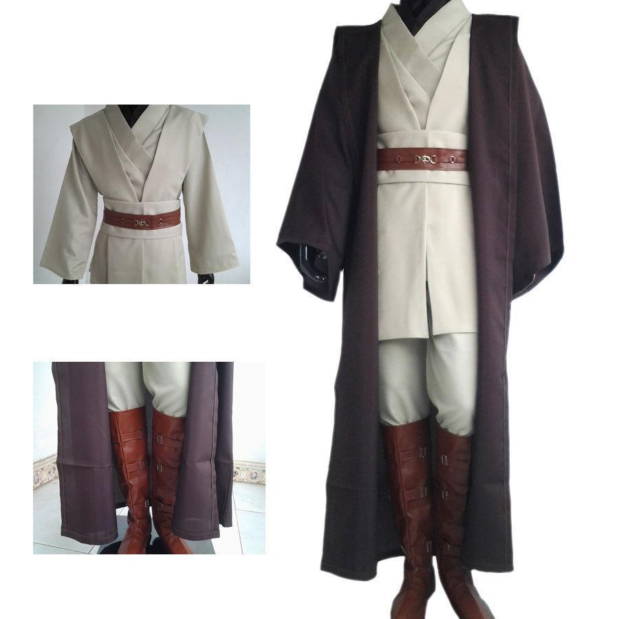 Free Shipping Star Obi-Wan War Obi-Wan Kenobi Jedi Knight Suits Cloak Cosplay Complete Costume