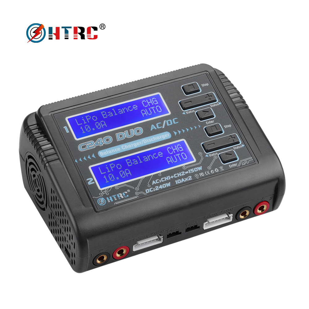 HTRC C240 DUO AC 150W /DC 240W Dual Channel 10A RC Balance Charger discharger for LiPo LiHV LiFe Lilon NiCd NiMh Pb batteryHTRC C240 DUO AC 150W /DC 240W Dual Channel 10A RC Balance Charger discharger for LiPo LiHV LiFe Lilon NiCd NiMh Pb battery