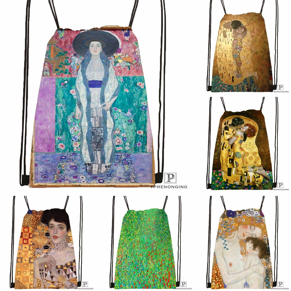 Custom Gustav Klimt #9 SoftDrawstring Backpack Bag Cute Daypack Kids Satchel (Black Back) 31x40cm#180531-02-22