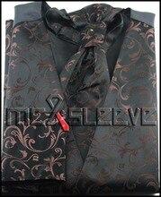 New arrival free shipping beige floral 4pcs tuxedo groom waistcoat (vest+ascot+cufflinks+handkerchief)