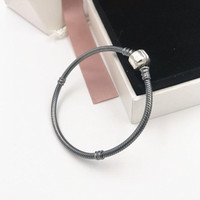 NEW! Perfect Charm logo Engraved Bracciali S925 Silver Bangle women/Men Black charms Bracelet Oxidized Silver Chains DIY