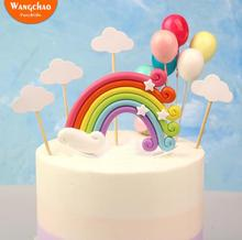 Colorful Rainbow Cake Topper Happy Birthday Wedding Flags Cloud Balloon Flag Party Baking Decoration Supplies