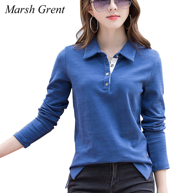 10f9aa7f 2018 women's Autumn Winter t-shirt Long-sleeve 92% cotton polo shirt turn-down  collar women's top Large size 3XL 4XL