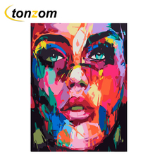 RIHE Colorful Girl Diy Painting By Numbers Belle Oil On Canvas Hand Painted Cuadros Decoracion Acrylic Paint Home Art