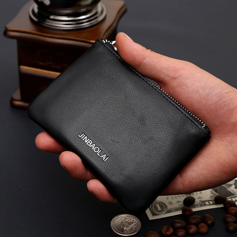 2016 Mini Men 100% Genuine Leather Wallets Small Pocket Coin Purse Holder Change Money Bag Punch Credit Card Id Holder Ml1-022
