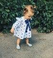 2016 de Otoño de Manga Larga Vestido de Partido Del Bebé Pajarita Grande Recién Nacido bebé Muchachas Del Vestido Del Bebé de La Muchacha Cothes Estrella Impreso Vestidos Del Niño Del Cabrito