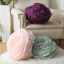 Satin Rose Embroidery Cushion Lover Gifts Home Wedding Decoration Flower Pillow Hand Cushion