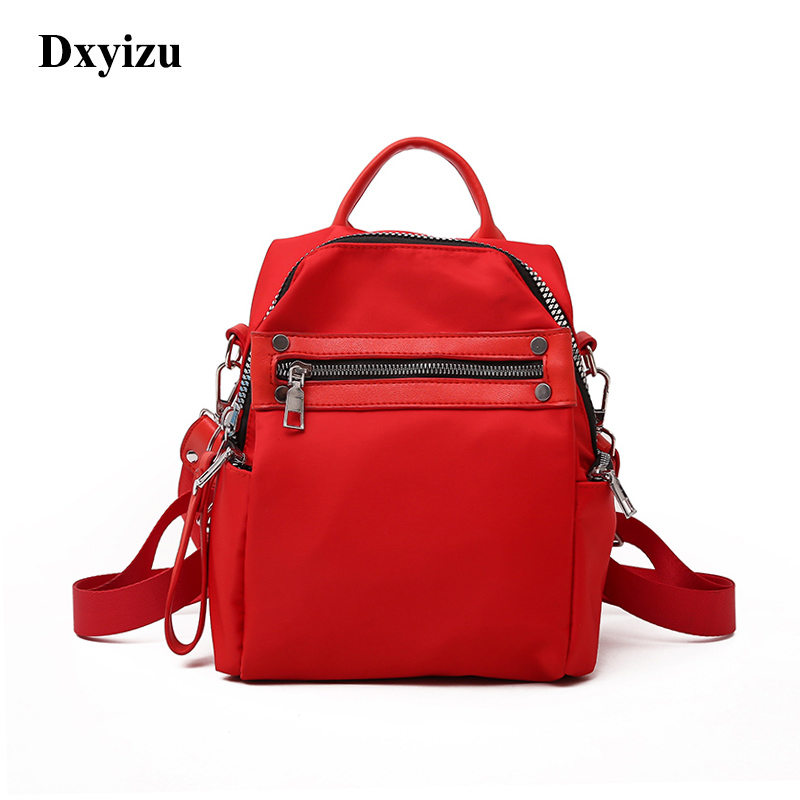 Fashion Nylon Lady Red Backpack Women Leisure Travel Rucksacks For Girls Teenager Cool Contrast Color Preppy Style School Bag