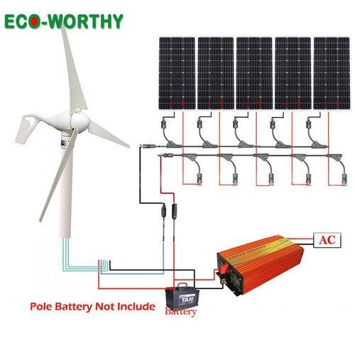 ECOWORTHY 900W hybrydowego wiatru słonecznego wiatr zestaw: 400W Generator wiatrowy 5 sztuk 100W 500W panele słoneczne do ładowania baterii słonecznej system w Systemy energii słonecznej od Elektronika użytkowa na  Grupa 1