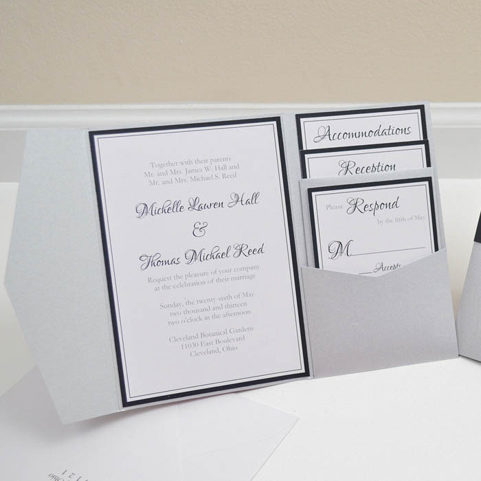 White Wedding Invitations Diy Pocket Cards Envelopes Folder