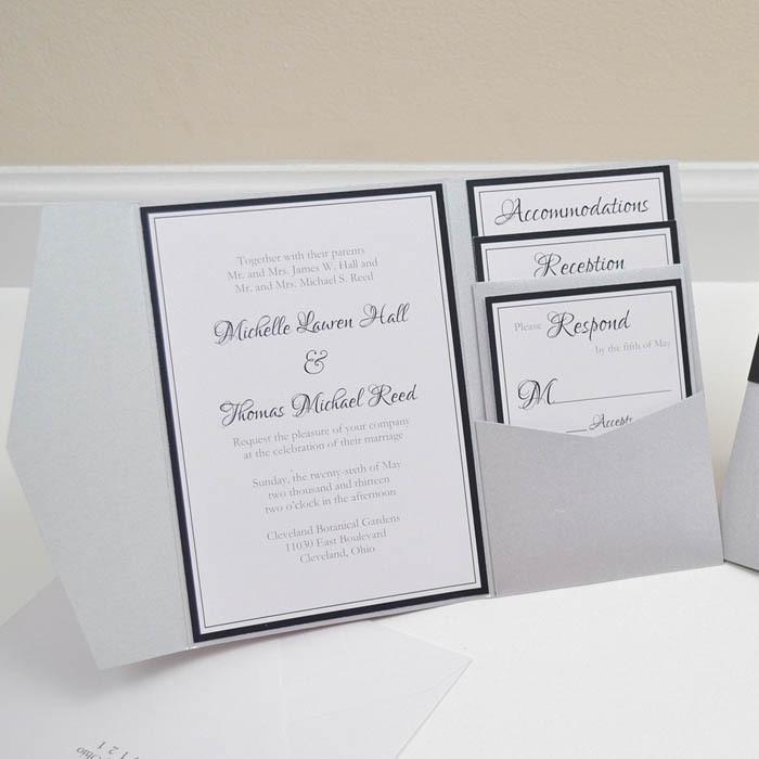 White Wedding Invitations Diy Pocket