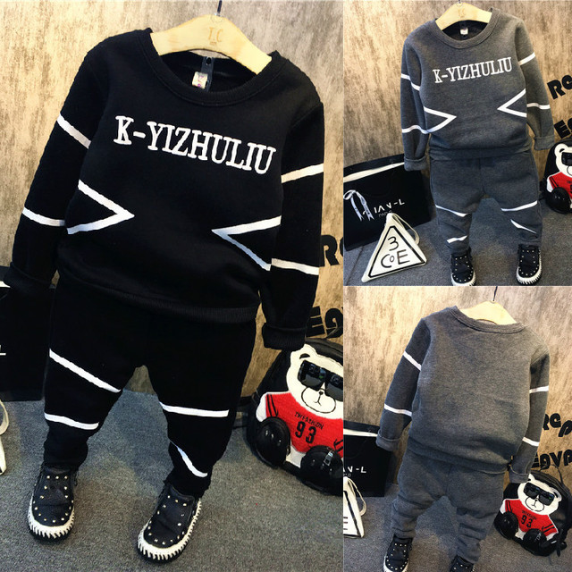 2016 Autumn New baby boy clothing set fashion cotton long-sleeved letter hoodie + trousers 2pcs baby girls boy clothes sport set