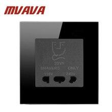 цена на MVAVA bathroom Wall Shaver socket ,110 & 240v Dual Voltage hotel shaving outlet ,Luxury crystal black panel,Free shipping!