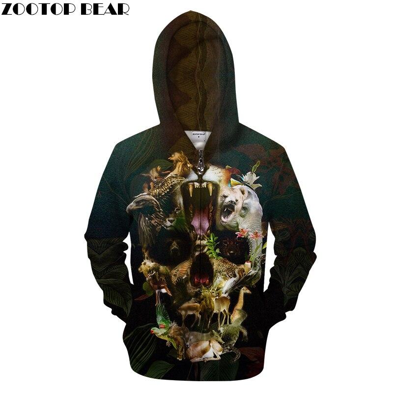 Aimal Flower By ALI Artist Unisex Zip Hoodie 3D Print Zipper Sweatshirts Coat Harajuku Men Casual Hoody Streetwear Clothes 2018