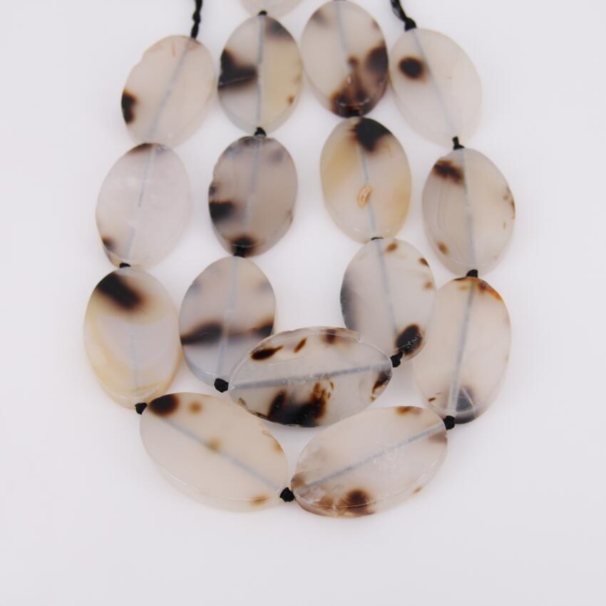 8 шт. strand, гладкой природных Oyster Белый купля с черный пятнистый Овальный Бусины, центр Drilled, большой камень толстые свободные Бусины кулон