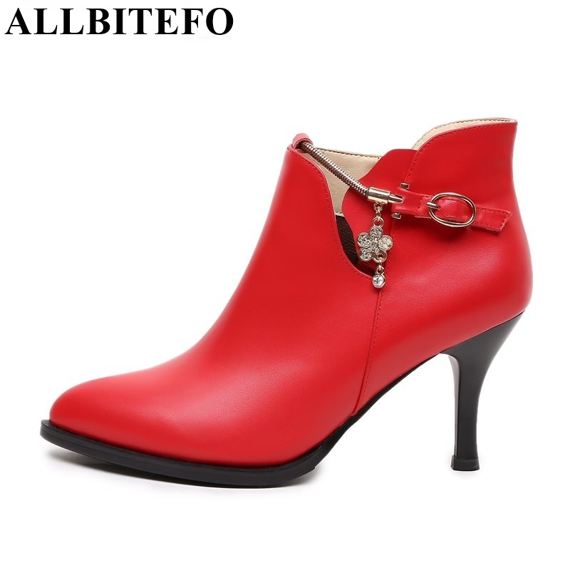ФОТО ALLBITEFO sexy fashion genuine leather pionted toe high heels women boots 2017 new winter chains charm martin boots snow boots