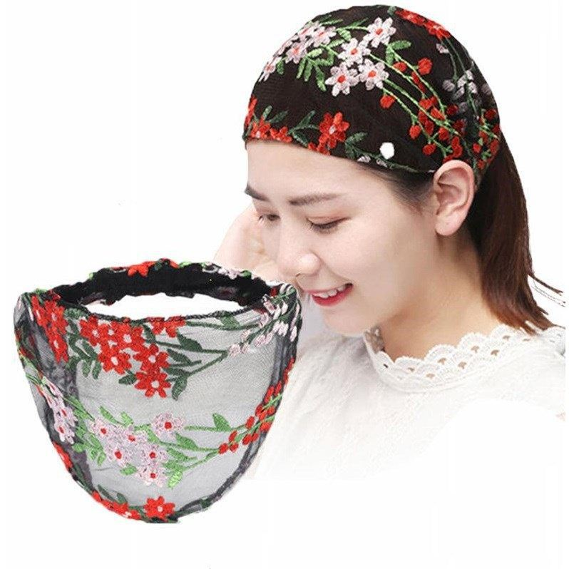 New Style Embroidered Wide-brimmed Lace Elastic Cross Flower Headband Turban Women Ladies   Headwear   Bandanas Hair Accessories