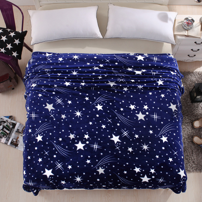 Blue Meteor Shower Soft Flannel Blanket Warm Soft Plane Travel Bed Sheet Blanket Bed Cover 120/150/180/200CMX230CM Throw Blanket