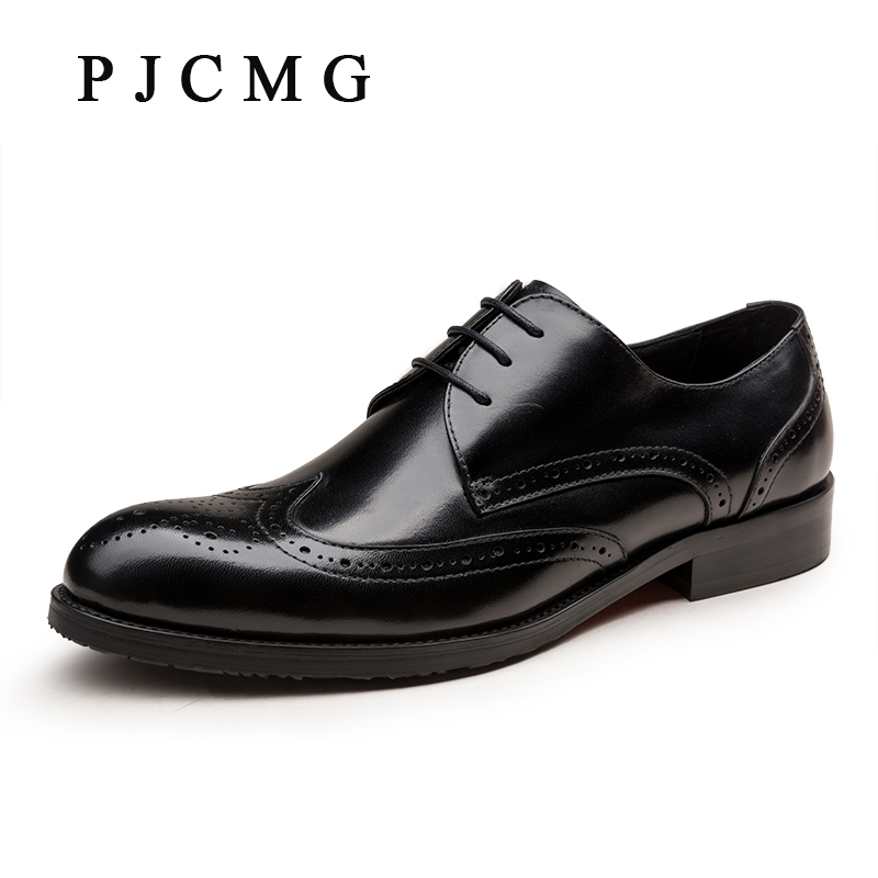 PJCMG New Fashion Brown / Black Oxfords Business Mens Lace-Up Pointed Toe Dress Genuine Leather Wedding Mens Office Shoes 3800m xm l2 waterproof underwater led diving flashlight torch lamp light lanterna with 2 rechargeable 18650 battery