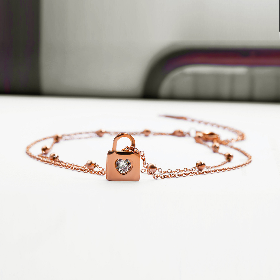 Love Heart Lock Anklet Rose Gold Color Titanium Stainless Steel Material Anklets Fashion Trendy Women Jewelry Gift Dropshipping 1