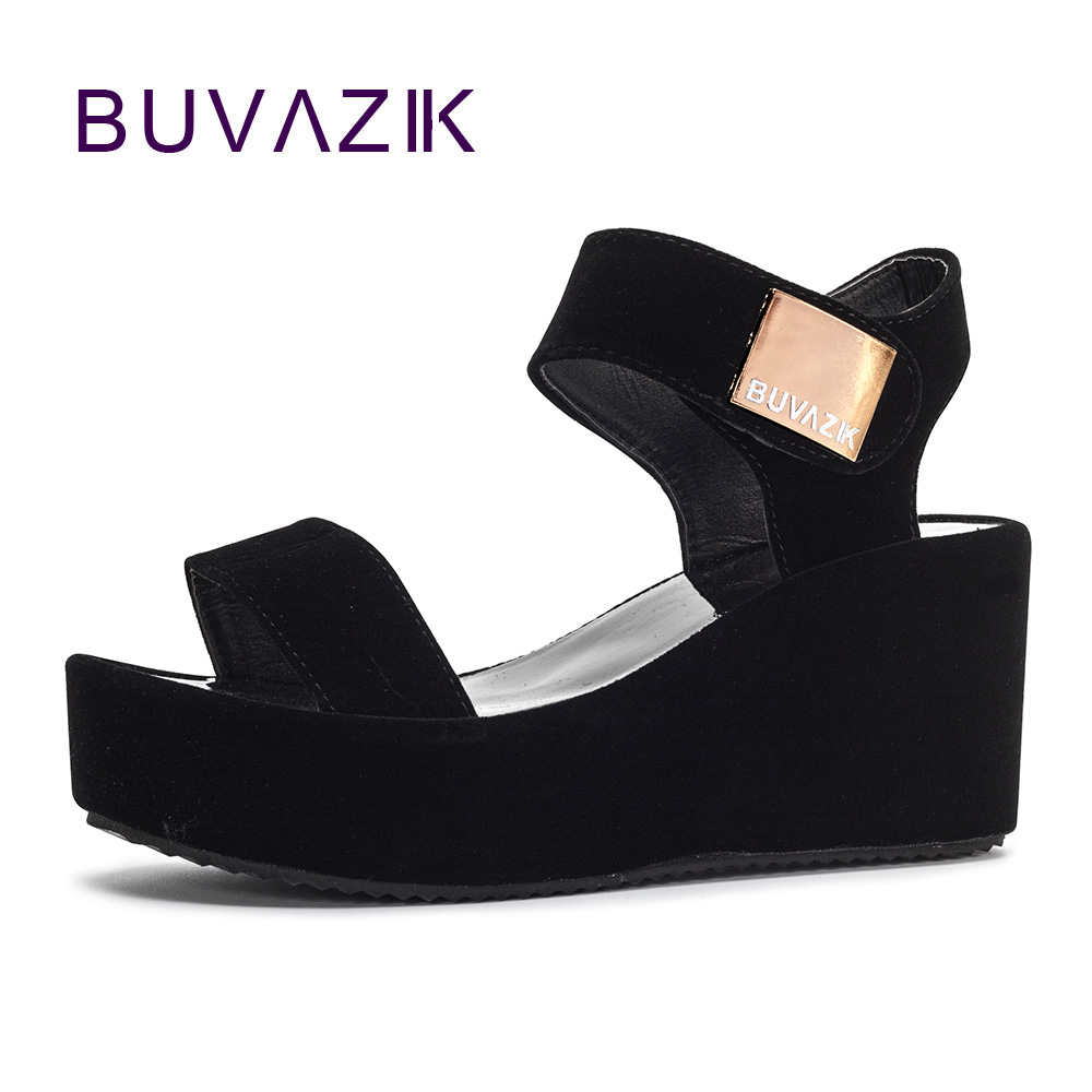 bca53d71689 2018 free shipping women sandals platform wedge heel shoes soft summer  ankle strap for woman High