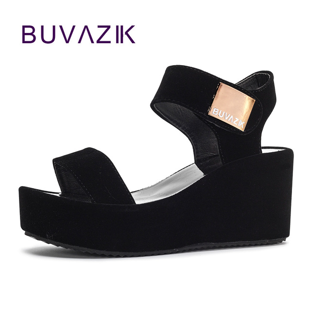 2018 free shipping women sandals platform wedge heel shoes soft summer  ankle strap for woman High-heeled shoe big size 41 f63bf9897d58