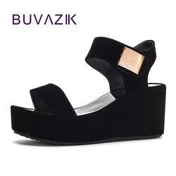 2018 livraison gratuite femmes sandales plate-forme chaussures à talon compensé doux été bride à la cheville pour femme chaussures à talons hauts grande taille 41