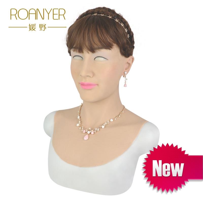 Roanyer Silicone halloween masks Beautiy female Latex mask for crossdresser shemale transgender drag queen crossdressing