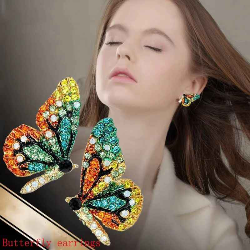 Color Fairy Tale Butterfly Stud Earrings Necklace Hairpin Fashion Jewelry Women